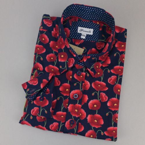Grenouille Ladies Long Sleeve Navy With Red Poppy Relaxed Fit Shirt